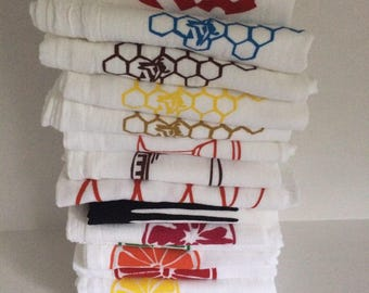 Set of six kitchen towels screen printed flour cloth any combination of image or color