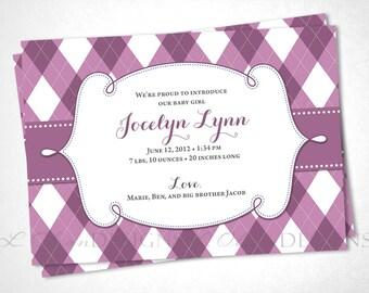 Plaid Argyle Baby Birth Announcement - Mauve - DIY Printable