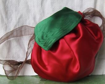 Apple Drawstring Bag, purse, tote, - Trick or Treat, Halloween, teacher gift