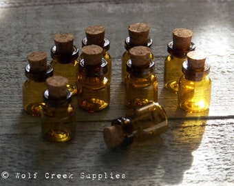 Tiny Amber Tea Colored DIY Mini Craft Embellisment, Wedding or Party Favor Vial Bottles with Corks, Set of 10