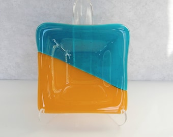 Blue and Orange Fused Glass Dish Glass Catch All Dish Ring Dish Trinket Dish Fused Glass Tea Light Holder Small Gifts