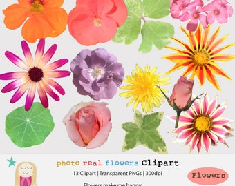 SALE Floral Clipart, Real Flower Clipart, Photo Flower Clip Art, Wedding Clipart, Flower Clip Art, Hipster Clipart, Commercial Use