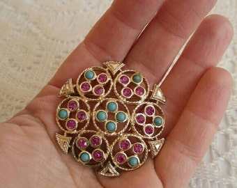 Vintage Sarah Coventry brooch gold tone faux turquoise amethyst rhinestone Victorian revival style