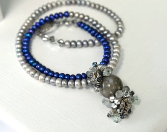 Ocean Jasper Necklace with Royal Blue and Pewter Grey Freshwater Pearls and a Pewter Toggle Clasp