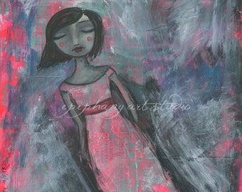 "Fine Art Print - 10"" x 10"" Gray Giclee Wall Decor Art - ""Emerge"" - Healing Art Woman Pink Green Magic Mystery Mystical Mysterious Christian"