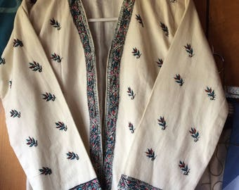 VINTAGE INDIAN JACKET, wwII era, hand  embroidered shirt, wool, cotton, crafted, ethnic, unisex wear