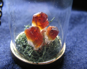 Citrine crystal necklace   moss terrarium   pendant   raw   nature inspired   for her   miniature