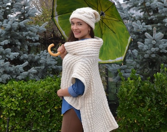 Mother's day gift Wool Cape coat Women's cape White Cape wrap Knitted Cape gift Poncho cape  Adult cape Oversized cape Spring cape Warm cape
