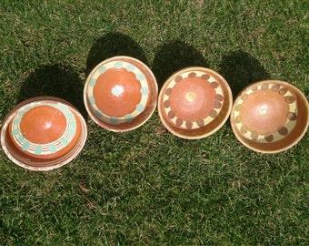 Easter decoration Antique pottery bowl Vintage ceramic bowls Sweet home Ceramic clay bowls Set of four bowls Handmade ornamented home