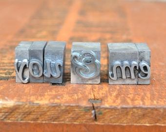 You & Me - Vintage letterpress metal type - Valentine's day gift - wedding, anniversary, love, girlfriend, boyfriend, industrial TS1010