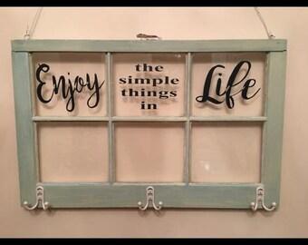 Vintage 6 Panel Window - Enjoy the Simple things in Life