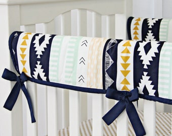 Aztec Gold & Mint Crib Rail Cover for Bumperless Bedding