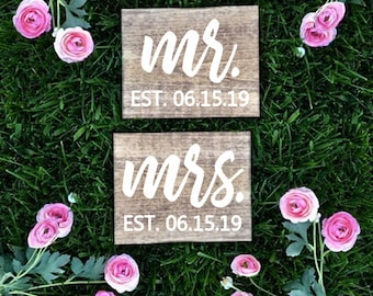 Mr. and Mrs. Chair Signs, Rustic Wedding Signs,  Mr. & Mrs. Est. Date Chair Signs, Photo Prop,  Sweetheart Table Signs, Mr. Sign Mrs. Sign