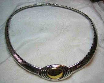 Gas Pipe Choker KJL Omega Silver & Gold Tone Kenneth J Lane For Avon