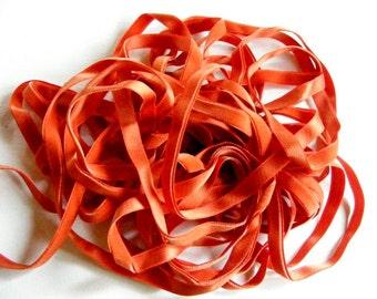 Vintage French Silk Velvet Ribbon 1920's 7/16 inch Gorgeous Persimmon Orange