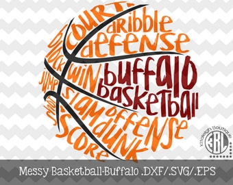 Messy Buffalo Basketball design INSTANT DOWNLOAD in dxf/svg/eps for use with programs such as Silhouette Studio and Cricut Design Space