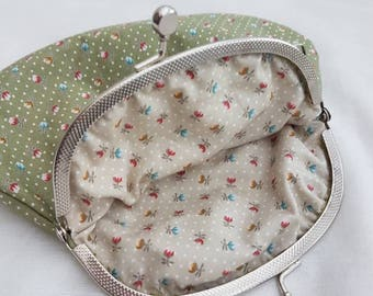 Large Sage Green Polka Dot and Floral Kiss Clasp Coin Purse/Change Purse/Small Make Up Bag/Kiss Clasp Pouch.