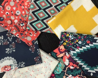 Blue and Gold Geometrics - Curated Modern Fat Quarter Bundle with Recollection by Katarina Roccella for Art Gallery Fabrics - 7 Fat Quarters