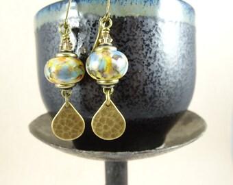 Brass Teardrop Earrings - Antiqued Brass Charm w/Handcrafted Lampwork Bead - One of a Kind, Unique Earrings