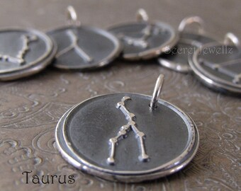 Taurus Constellation Necklace, Zodiac Necklace, Star Sign Jewelry, Wax Seal Jewelry,  Fine Silver Pendant