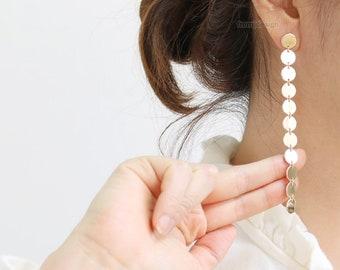 Small Circles Coin Long Drop Dangle Stud Earrings