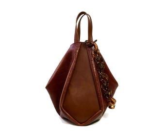 Saddle Brown tote bag // Crocodile embossed leather crossbody bag