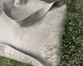 One Handle Linen Tote Bag (with bottom). Linen summer bag. Very light and comfortable.