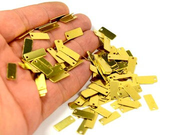 50 Pcs. Raw Brass 6x16 mm Rectangle Stamping Blanks