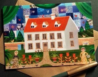 Jane Austen Greeting Card·Steventon·Card for Booklover·Fine Art Card·Sampler·Garden·Amanda White Design·Writers' Houses·Pride & Prejudice