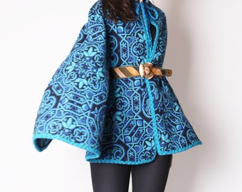 Vintage 1960s Blue Psychedelic Aqua and Black Tapestry Cape / Peacock / Mod Cape / Cape / Cloak / Coat /  1796