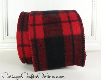 "Christmas Wired Ribbon, 4"" Red and Black Tartan Plaid Flannel - TEN YARD ROLL - d. Stevens ""Cabin Grand 2"" Buffalo Plaid Check Wire Edged"