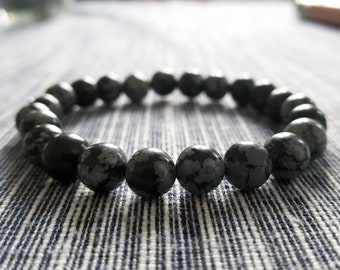 Bracelet in Natural Gemstones - Obsidian Snowflake