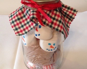 Gourmet Peppermint Hot Cocoa with Snowmen Marshmellows in a Mason Jar