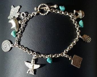 """Vintage 925 sterling silver charm bracelet. 7"""""""