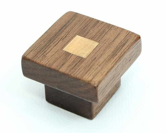 Square Cabinet Knob, Arts & Crafts Knob, Walnut Cabinet Hardware, Craftsman Style Furniture Knob, Furniture Hardware