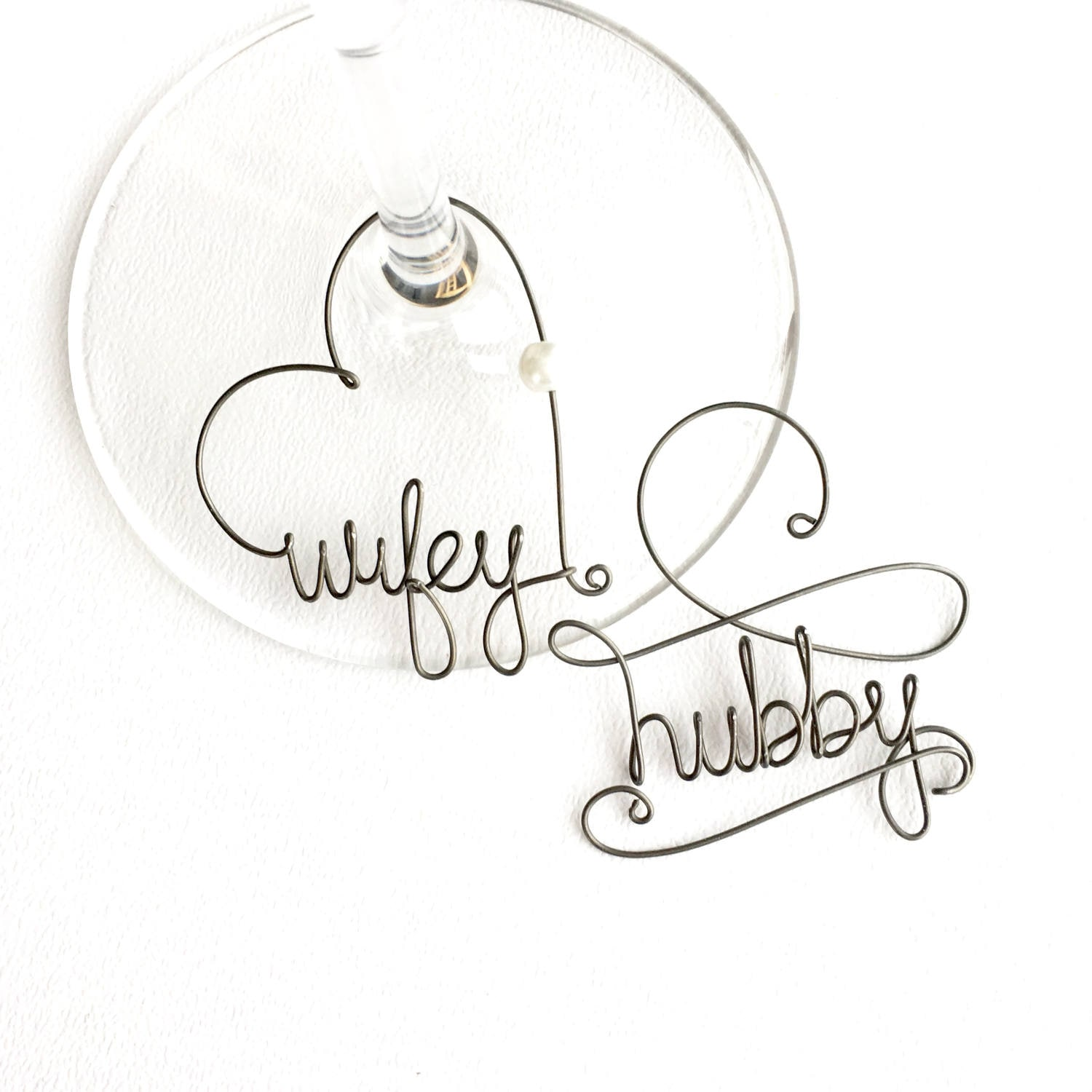 Hubby and Wifey Wine Glass Charms Personalized Wine Charms