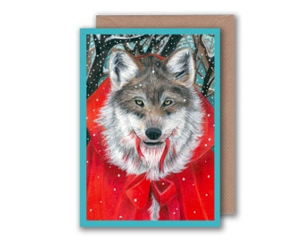 Little Red Riding Hood Illustration - Blank Greeting Card - Wolf Fairytale