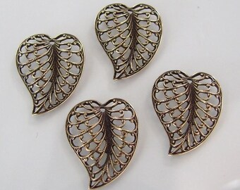 CLEARANCE 4 Antique Gold Filigree  Leaf Charms 15x20mm, AG15