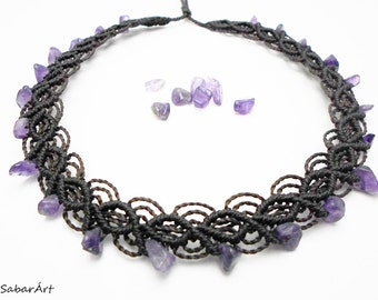 Choker, amethyst choker, amethyst necklace, brown choker, amethyst jewelry, february birthstone, unique choker, amethyst, chocolate brown