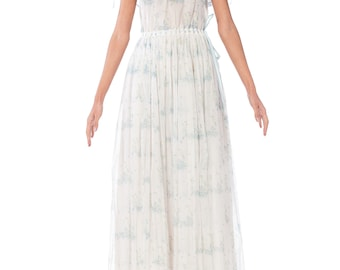 1970s Pale Blue Floral Ruffled Maxi Dress Size: