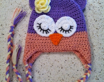 Owl Hat- Pastel Purple & Pink with Pale Yellow Flower