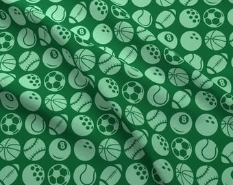 Green Sports Fabric - Sports By Studiofibonacci - Green Summer Sports Cotton Fabric By The Yard With Spoonflower