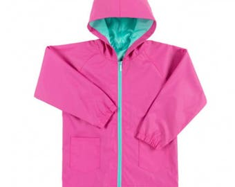 girls raincoat personalized rain coat back to school rain jacket monogram rain jacket hot pink mint navy