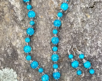 Beads of Blue Necklace One Of A Kind