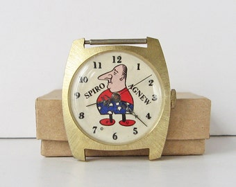 Spiro Agnew watch, Political memorabilia, 39th Vice President of the United States, caricature watch, humorous watch