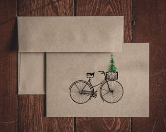 Folded Christmas Bicycle Note Cards (Set of 8)