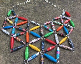 Star Struck - Recycled paper beads, Paper beads, Bib necklace, Statement bib necklace