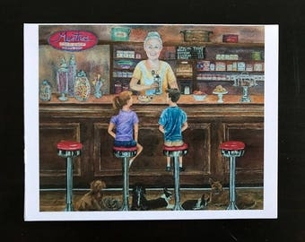 Fine Art Watercolor Print made into all occasion cards, Good Old Days of kids with Sundaes, Ice Cream, Apothecary, Jars of Candy,Dogs,Smiles