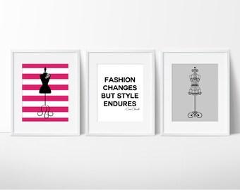 Girls Fashion Prints, Fashion Changes Quote, Dress Form, Dorm Decor, Office Decor, Vanity Art