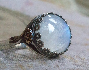 Moonstone ring, two tone ring, Silver Engagement ring, stone ring, gypsy ring, rainbow moonstone ring, boho ring, hippie - To the moon R2123